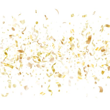 Gold shiny confetti flying on white holiday poster background. Beautiful flying tinsel elements, gold foil texture serpentine streamers confetti falling birthday background.