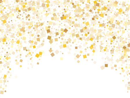 Abstract gold confetti sequins tinsels flying on white. Luxurious holiday vector sequins background. Gold foil confetti party particles texture. Square sparkles invitation backdrop.