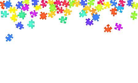 Business enigma jigsaw puzzle rainbow colors parts vector illustration. Top view of puzzle pieces isolated on white. Cooperation abstract concept. Jigsaw pieces clip art.
