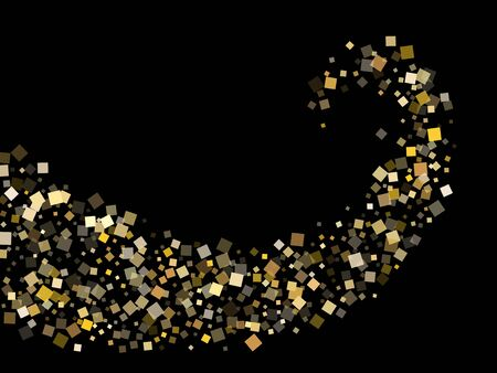 Stylish gold square confetti sparkles flying on black. Rich New Year vector sequins background. Gold foil confetti party particles texture. Overlay sparkles invitation backdrop.