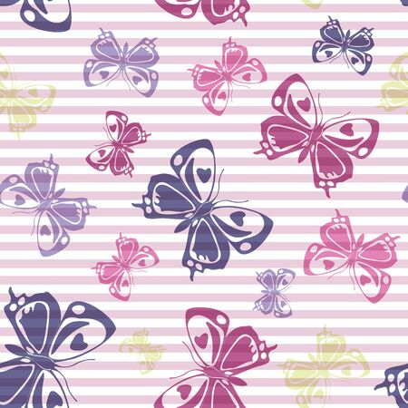 Flying colorful butterfly silhouettes over horizontal stripes vector seamless pattern. Baby clothing fabric print design. Lines and butterfly garden insect silhouettes seamless design. Illusztráció