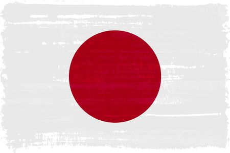 Japanese national flag isolated vector illustration. Travel map design graphic element. World county symbol. Japanese flag icon with grunge texture. Flat flag of Japan with red circle sun on white