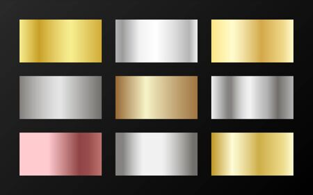Cool golden, platinum, bronze, pink gold gradients. Metallic foil texture silver, steel, chrome, platinum, copper, bronze, aluminum, rose gold gradient swatches.  Stylish metallic swatches set.  イラスト・ベクター素材