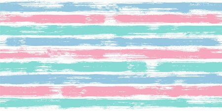 Vibrant watercolor brush stripes seamless pattern. Blue pink paintbrush lines horizontal seamless texture for background. Hand drown paint strokes design artwork. For garment. Vektorgrafik
