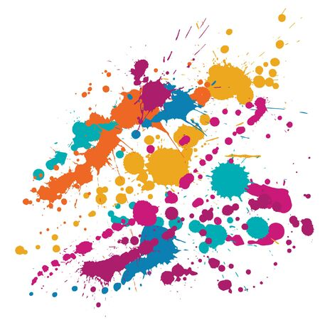 Watercolor paint stains grunge background vector. Hipster ink splatter, spray blots, dirty spot elements, wall graffiti. Watercolor paint splashes pattern, smear fluid stains splatter background. Vector Illustration