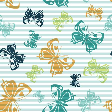 Flying multicolor butterfly silhouettes over horizontal stripes vector seamless pattern. Baby clothing textile print design. Stripes and butterfly garden insect silhouettes seamless design.