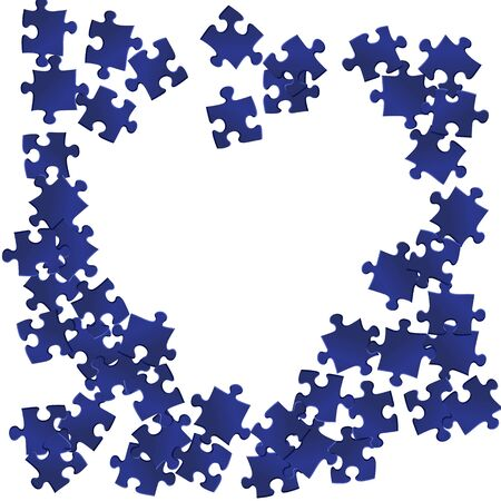 Abstract conundrum jigsaw puzzle dark blue parts vector illustration. Top view of puzzle pieces isolated on white. Success abstract concept. Jigsaw match elements.