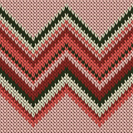 Natural zig zal lines knit texture geometric vector seamless. Rug knit tricot  fabric print. Nordic style seamless knitted pattern. Handicraft backdrop. Imagens - 133795193