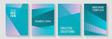 Brochure cover layouts halftone vector set. Marketing catalog creative mockups. Corporate report mockups. Contemporary paper covers design set. Corporate branding leaflets. Ilustrace