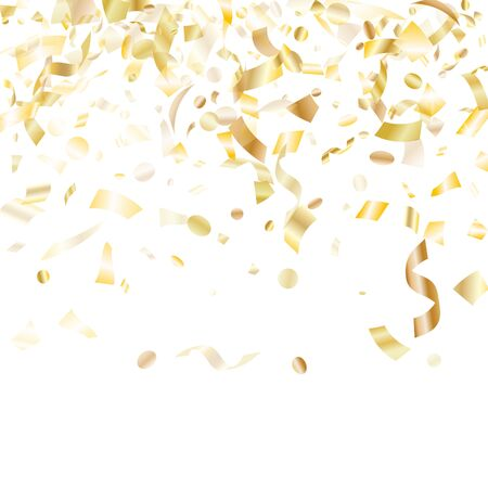 Gold luminous confetti flying on white holiday vector backdrop. VIP flying tinsel elements, gold foil texture serpentine streamers confetti falling carnival background.