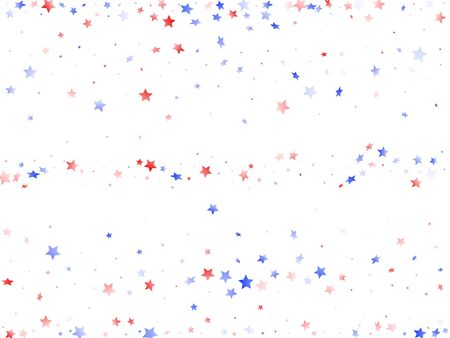 American Independence Day stars background. Confetti in US flag colors for Independence Day.  Festive red blue white stars on white American patriotic vector. 4th of July stardust scatter. Ilustrace