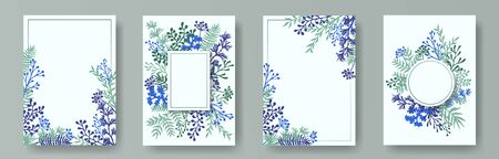 Hand drawn herb twigs, tree branches, flowers floral invitation cards collection. Herbal frames elegant invitation cards with dandelion flowers, fern, lichen, olive branches, savory twigs.