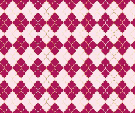 Pakistani Mosque Vector Seamless Pattern. Argyle rhombus muslim textile background. Traditional ramadan pattern with gold grid. Chic islamic argyle seamless design of lantern lattice shape tiles. 向量圖像