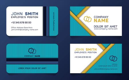 Stylish business card minimal idea vector templates set. Creative business card graphic design with place for logo, company name, employees position, phone number, website and office address.