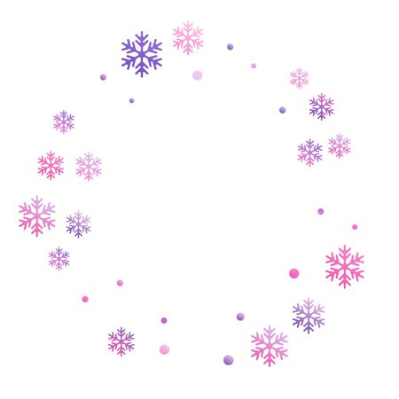 Winter snowflakes and circles border vector design. Unusual gradient snow flakes isolated banner background. New Year card border winter pattern with falling snowflake shapes isolated.