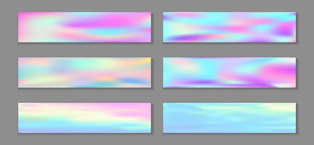 Neon holo bright banner horizontal fluid gradient unicorn backgrounds vector collection. Opalescence holography texture gradients. Fluid liquid print fashionable unicorn backgrounds.