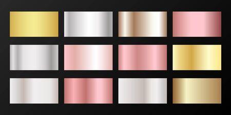 Metallic gradients vector set: golden, silver, platinum, bronze, pink gold. Polished iron, chrome, alloy, aluminum, titanium, copper, silver, rose gold, platinum, steel, bronze background swatches.  イラスト・ベクター素材