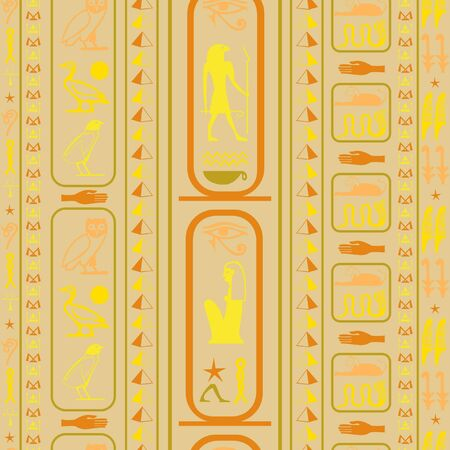 Ancient egypt writing seamless background. Hieroglyphic egyptian language symbols texture. Repeating ethnical fashion graphic design for brochure or booklet.