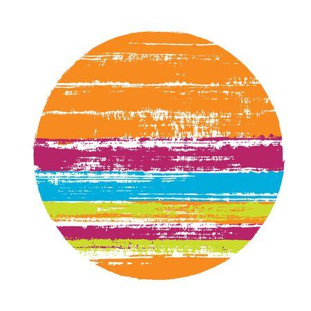 Forme géométrique de vecteur de cercle vintage avec texture de rayures de lignes horizontales de peinture. Bannière de disque avec texture de peinture ancienne. Tamponnez l'élément de logo de cercle de forme ronde avec le fond de rayures grunge.
