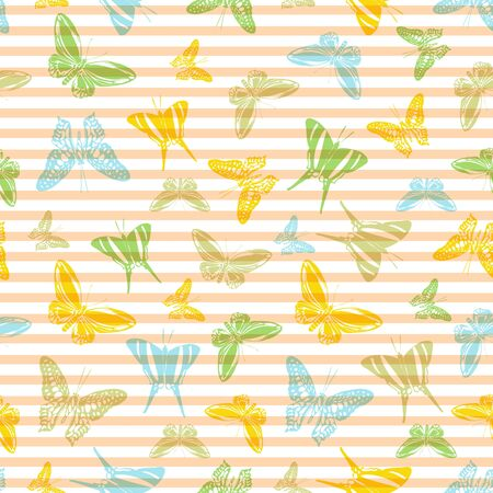 Flying pretty butterfly silhouettes over striped background vector seamless pattern. Girlish fashion textile print design. Stripes and butterfly winged insect silhouettes seamless wallpaper. Vektoros illusztráció