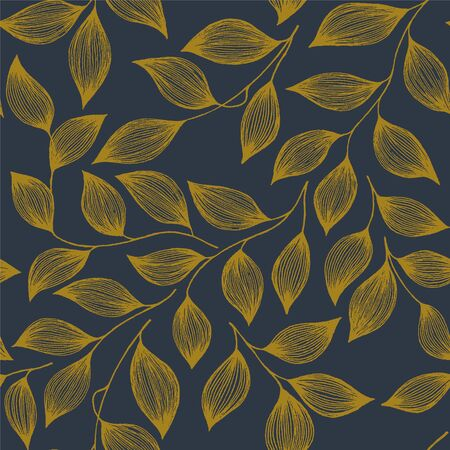 Packaging tea leaves organic seamless pattern vector. Decorative tea plant bush brown leaves floral fabric ornament design. Herbal sketchy floral seamless pattern background with nature elements.