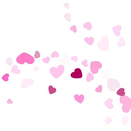 Pink hearts confetti Valentines Day vector background. Fascinating flying heart shapes decoration graphic design. Ilustração