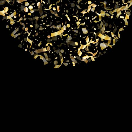 Gold glossy confetti flying on black holiday vector design. Trendy flying sparkle elements, gold foil gradient serpentine streamers confetti falling festive vector.