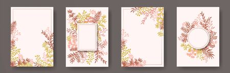Wild herb twigs, tree branches, flowers floral invitation cards set. Plants borders rustic cards design with dandelion flowers, fern, lichen, eucalyptus leaves, sage twigs.