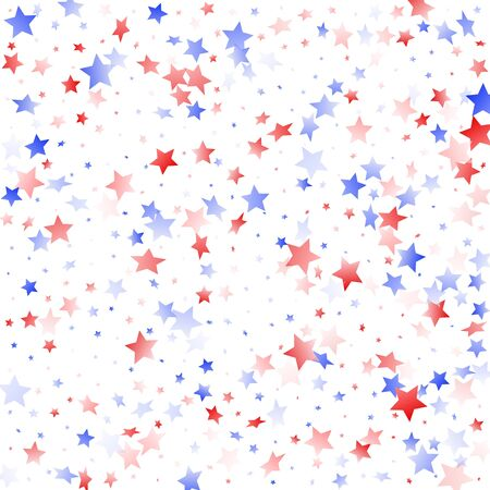 American Memorial Day stars background. Holiday confetti in USA flag colors for Patriot Day.  Solemn red blue white stars on white American patriotic vector. Fourth of July stardust scatter.