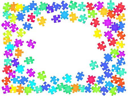 Business crux jigsaw puzzle rainbow colors pieces vector background. Group of puzzle pieces isolated on white. Success abstract concept. Jigsaw gradient plugins.