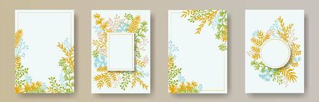 Cute herb twigs, tree branches, flowers floral invitation cards templates. Plants borders vintage invitation cards with dandelion flowers, fern, lichen, olive tree leaves, savory twigs.