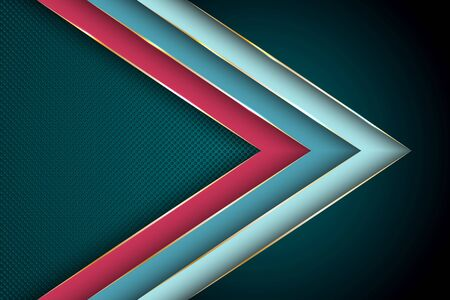 Polygonal arrow with gold triangle edge lines banner vector design. Glamour business background template. Futuristic cover graphic design. Poly gradient shapes with metallic glossy edge lines.