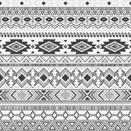 Fondo de vector geométrico de motivos étnicos tribales de patrón indio americano azteca. Diseño tradicional étnico de la ropa de los motivos tribales del nativo americano del vintage. Diseño de patrón de ropa maya. Ilustración de vector