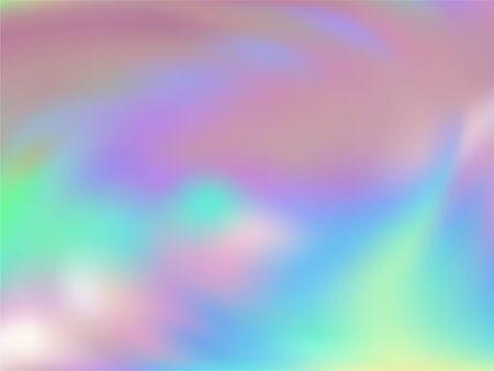 Holographic gradient neon vector illustration. Fashionable pastel rainbow unicorn background. Hologram colors liquid background. Fluorescent gradient neon holographic backdrop shimmer print. Illustration