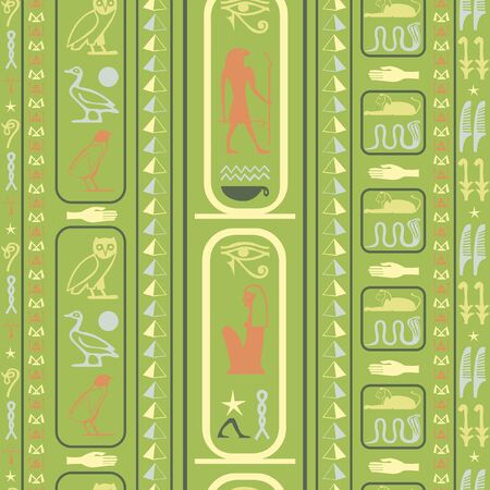 Antique egypt writing seamless pattern. Hieroglyphic egyptian language symbols template. Repeating ethnical fashion pattern for brochure or book cover. Standard-Bild - 134434102