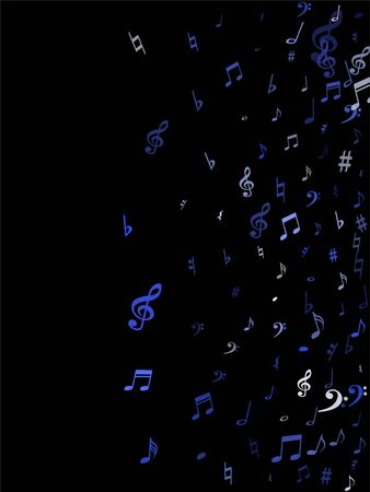 Blue flying musical notes isolated on black backdrop. Stylish musical notation symphony signs, notes for sound and tune music. Vector symbols for melody recording, prints and frames.