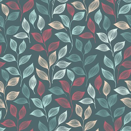 Wrapping tea leaves pattern seamless vector. Minimal tea plant bush leaves floral fabric design. Herbal sketchy seamless background pattern with nature elements. Cartoon summer foliage wallpaper.