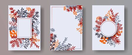 Tropical herb twigs, tree branches, flowers floral invitation cards collection. Herbal frames elegant invitation cards with dandelion flowers, fern, mistletoe, eucalyptus leaves, savory twigs. Çizim