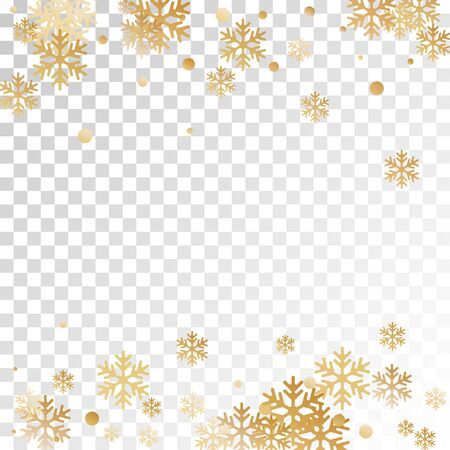 Winter snowflakes and circles border vector graphics. Unusual gradient snow flakes isolated card background. New Year card border holiday pattern with minimal snowflake elements isolated.
