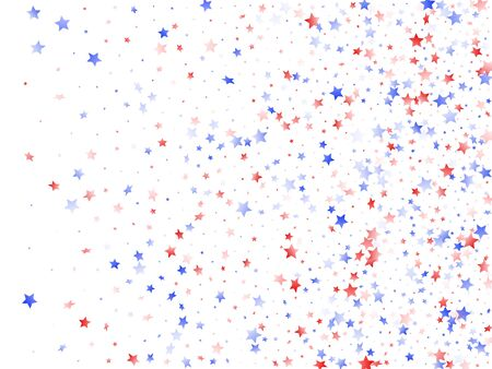American Independence Day stars background. Holiday confetti in US flag colors for Patriot Day.  Cool red blue white stars on white American patriotic vector. July 4th stardust elements.