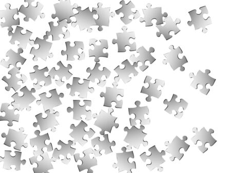 Abstract brainteaser jigsaw puzzle metallic silver parts vector illustration. Group of puzzle pieces isolated on white. Challenge abstract concept. Jigsaw gradient plugins.
