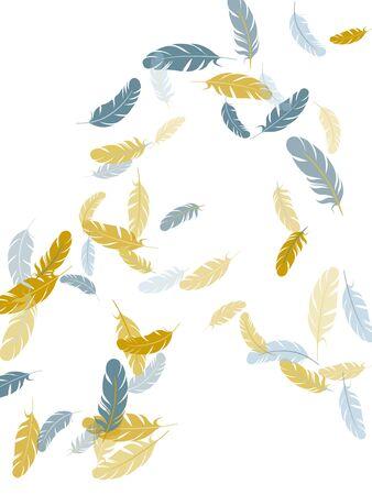 Elegant silver gold feathers vector background. Falling feather elements soft vector design. Decorative festive plumelet. Plumage bohemian fashion shower decor. 向量圖像