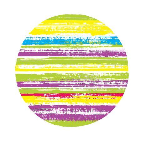 Forme géométrique vectorielle de cercle rétro avec texture rayée de lignes horizontales de peinture. Bannière de disque avec texture de peinture ancienne. Étiqueter l'élément de cercle de forme ronde avec un fond grunge de rayures.