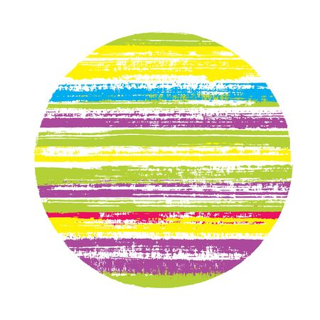 Retro circle vector geometric shape with striped texture of paint horizontal lines. Disc banner with old paint texture. Label round shape circle element with grunge background of stripes.