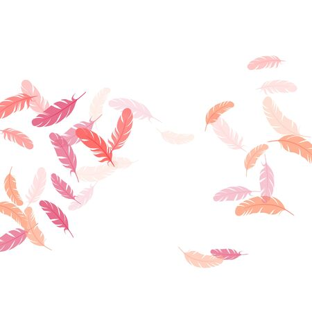 Carnival pink flamingo feathers vector background. Quill plumelet silhouettes illustration. Wildlife nature isolated plumage. Detailed majestic feather on white design. 向量圖像