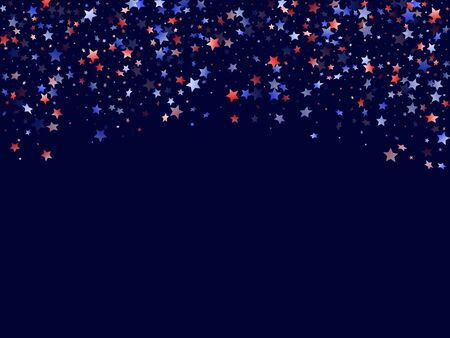 American Memorial Day stars background. Holiday confetti in US flag colors for President Day. Navy red blue white stars on dark American patriotic vector. July 4th stardust confetti. Ilustrace