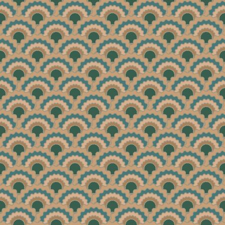 Simple fish scales squama background, vector seamless fabric pattern, tiled textile print. Typical japanese squama scales seamless arc tiles mosaic. Reptile animal skin pattern. Archivio Fotografico - 134450318