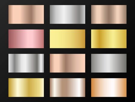 Trendy golden, silver, bronze, rose gold gradients. Metallic foil texture silver, steel, chrome, platinum, copper, bronze, aluminum, rose gold gradient swatches. Shiny metallic swatches collection.
