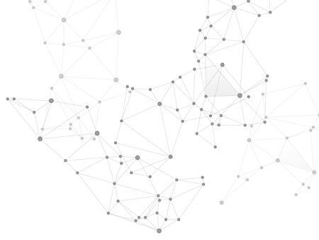 Wissenschaftliches Konzept der Big Data Cloud. Graustufen-Plexus-Hintergrund der Netzwerkknoten. Tech-Vektor-Big-Data-Visualisierung Cloud-Struktur. Hintergrund der Nanotechnologie. Verknüpfte Punktknoten und Linien Low-Poly.
