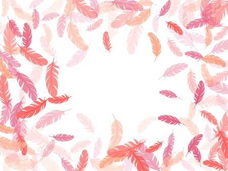 Bohemian pink flamingo feathers vector background. Plumage fluff dreams symbols. Fluffy twirled feathers on white design. Lightweigt plumelet windy floating pattern.
